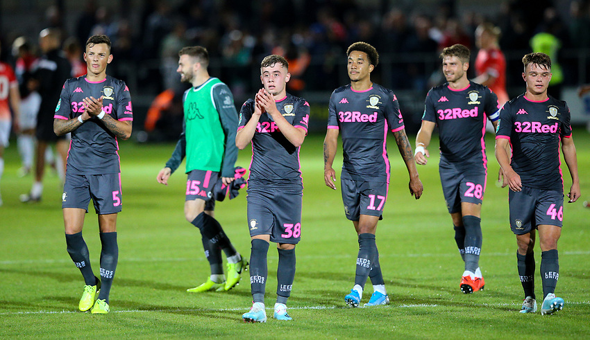 Leeds United players applaud the fans<br /> <br /> Photographer Alex Dodd/CameraSport<br /> <br /> The Carabao Cup First Round - Salford City v Leeds United - Tuesday 13th August 2019 - Moor Lane - Salford<br />  <br /> World Copyright © 2019 CameraSport. All rights reserved. 43 Linden Ave. Countesthorpe. Leicester. England. LE8 5PG - Tel: +44 (0) 116 277 4147 - admin@camerasport.com - www.camerasport.com