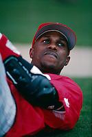 Eric Davis of the Cincinnati Reds at Dodger Stadium in Los Angeles,California during the 1996 season. (Larry Goren/Four Seam Images)