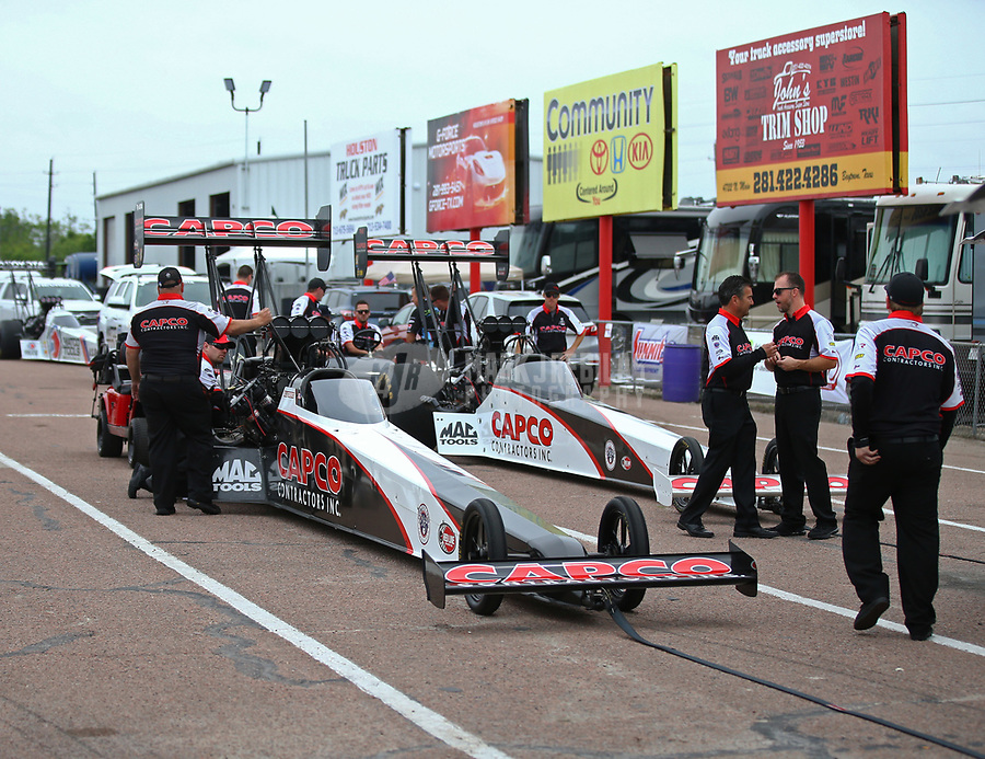 Apr 21, 2018; Baytown, TX, USA; NHRA top fuel driver Billy Torrence (near) and Steve Torrence during qualifying for the Springnationals at Royal Purple Raceway. Mandatory Credit: Mark J. Rebilas-USA TODAY Sports