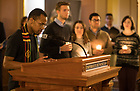 "January 15, 2018; Midnight prayer service in honor of the Rev. Martin Luther King Jr. holiday. The event also marked the beginning of ""Walk the Walk"" week, a series of events and observances to celebrate and reflect on diversity and inclusiveness. (Photo by Barbara Johnston/University of Notre Dame)"