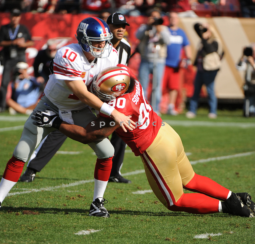 ISAAC SOPOAGA, of the San Francisco 49ers, in action during the 49ers game against the New York Giants on November 13, 2011 at Candlestick Park in San Francisco, CA. The 49ers beat the Giants 27-20.