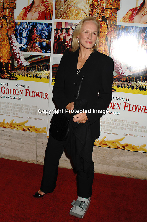 "Glenn Close who broke her ankle arriving at the Premiere of "" Curse of The Golden Flower"" on November 27, 2006 at Alice Tully Hall...Robin Platzer, Twin Images"