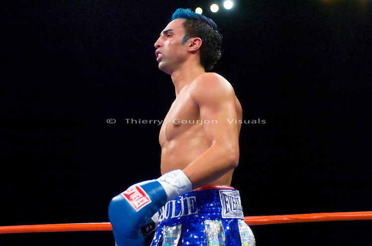 Paulie Malignaggi in the ring during his 10 rounds lightweight fight against Edner Cherry at the Hammerstein ballroom in NYC on 02.17.07.<br />Malignaggi won by unanimous decision.