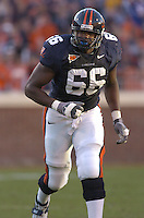 12 November 2005:Virginia tackle D'Brickashaw Ferguson (66)..The Virginia Cavaliers defeated the Georgia Tech Yellow Jackets 27-17 at Scott Stadium in Charlottesville, VA.