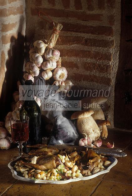 """Europe/France/Midi-Pyrénées/81/Tarn/Albi : Pigeon rôti à l'ail rose de Lautrec en chemise - Recette de Michel Pellaprat du restaurant """"Le Moulin de la Mothe"""""""