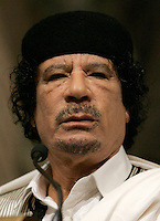 Il leader libico Muammar Gheddafi durante la sua visita a Palazzo Giustiniani, Roma, 11 giugno 2009..Libyan leader Libyan leader Muamar Gadhafi looks on during his visit at the Italian Senate's Palazzo Giustiniani, Rome, 11 june 2009..UPDATE IMAGES PRESS/Riccardo De Luca