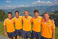 Austria, Kitzbuhel, Juli 15, 2015, Tennis, Davis Cup, Dutch team on top of the &quot;Hahnenkam&quot;  ltr:   Jean-Julien Rojer,  Jesse Huta Galung, Thiemo de Bakker, Robin Haase, and Captain Jan Siemerink,<br /> Photo: Tennisimages/Henk Koster