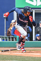 Bo Bichette (5) of the New Hampshire Fisher Cats runs to first base during a game against the Hartford Yard Goats at Dunkin Donuts Park on April 8, 2018 in Hartford, Connecticut.<br /> (Gregory Vasil/Four Seam Images)