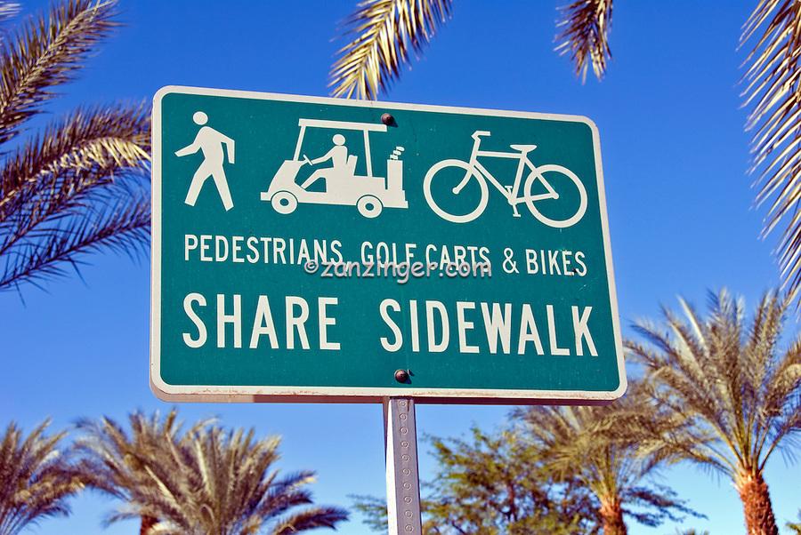 Pedestrian, Restrictions, Sign, Golf Carts & Bikes, Share Sidewalk