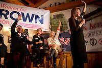 "Gail Huff (right), wife of Senator Scott Brown (R-MA), speaks at a ""Women For Brown"" meet and greet at The Olde Post Office Pub in North Grafton, Massachusetts, USA, on Thurs., Nov. 2, 2012. Senator Scott Brown is seeking re-election to the Senate.  His opponent is Elizabeth Warren, a democrat."