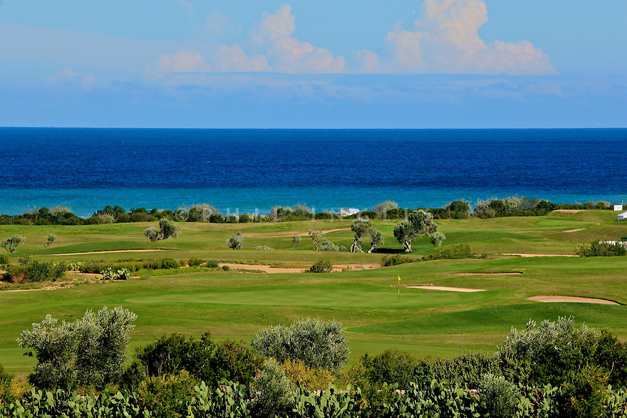 9th Green at San Domenico Golf, Puglia, Italy.  Designed by European Golf Design. Picture Credit / Phil Inglis.