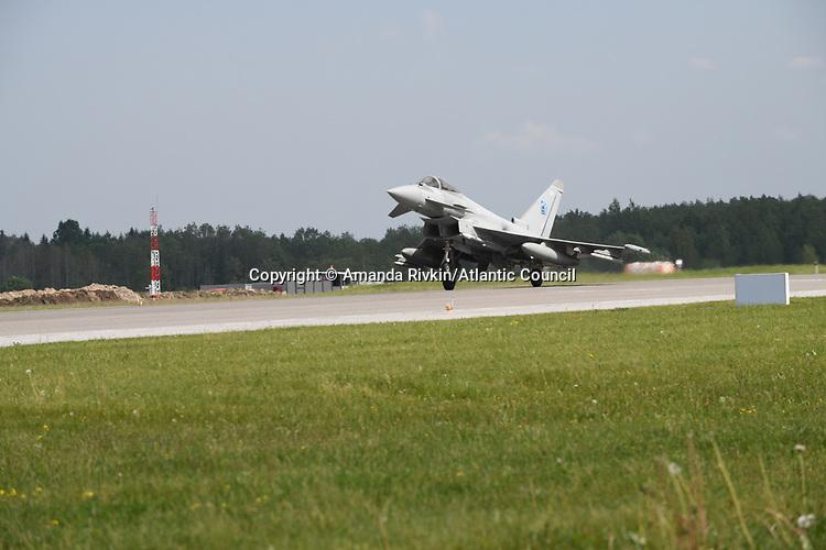 A British Royal Air Force Typhoon returns to Ämari Air Force Base after a morning spent patrolling the skies as part of NATO's Baltic Air Policing mission at Ämari Air Force Base, Estonia on June 7, 2019.