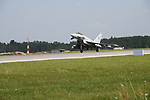 A British Royal Air Force Typhoon returns to Ämari Air Force Base after a morning spent patrolling the skies as part of NATO's Baltic Air Policing mission at Ämari Air Force Base, Estonia on June 7, 2019.