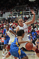 STANFORD, CA - January 20, 2011: Kayla Pedersen plays tight defense during Stanford's 64-38 victory over UCLA at Stanford, California on January 20, 2011.