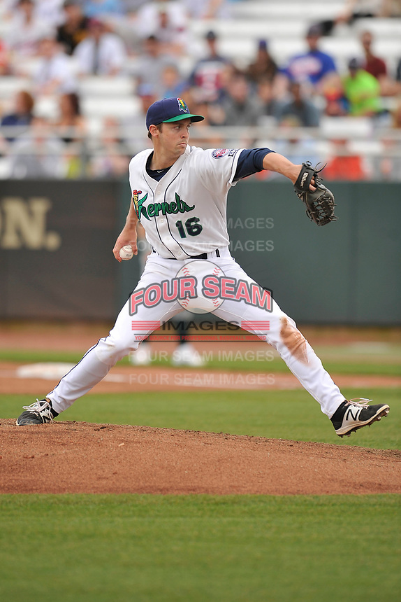 Cedar Rapids Kernels starting pitcher Sean Poppen (16) in action during a game against the Beloit Snappers at Veterans Memorial Stadium on April 8, 2017 in Cedar Rapids, Iowa.  The Snappers won 7-6.  (Dennis Hubbard/Four Seam Images)