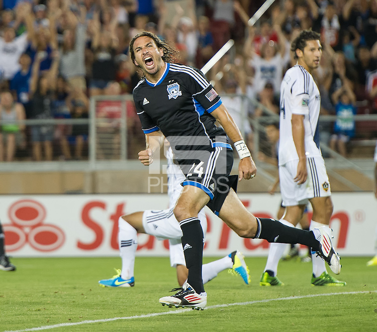 STANFORD, CA - Saturday June 29, 2013: San Jose Earthquake forward Alan Gordon (24) celebrating his goal during the San Jose Earthquakes vs LA Galaxy game in Stanford Stadium at Stanford, CA. Final score SJ Earthquakes 3, LA Galaxy 2.