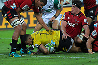 Ngani Laumape scores during the Super Rugby match between the Hurricanes and Crusaders at Westpac Stadium in Wellington, New Zealand on Friday, 29 March 2019. Photo: Dave Lintott / lintottphoto.co.nz