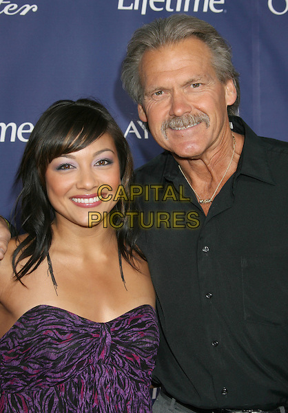 """NICOLE NIESTEMSKI & MICHAEL (FATHER).""""The Memory Keeper's Daughter"""" Premiere held at the ArcLight Cinemas Cinerama Dome, Hollywood, California, USA..April 8th, 2008.half length black and purple strapless print black shirt moustache mustache facial hair dad daughter family .CAP/ADM/RE.©Russ Elliot/AdMedia/Capital Pictures."""