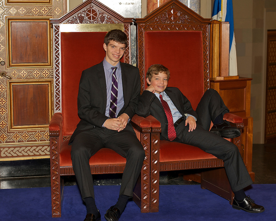 The Bar Mitzvah boy with his older brother at Congregation Rodeph Sholom, NY
