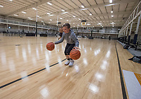 NWA Democrat-Gazette/J.T. WAMPLER Jackson Hallam, 11, warms up before a session with trainer Shannon Lang Thursday April 11, 2019 at the former All-Star Sports Arena in Springdale. The city recently purchased the facility for $4 million.
