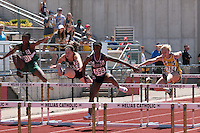Collegiagte School of Medicine and Bioscience's Nature Williams-Harkins (#698) runs to victory in the Class 2 100-meter hurdles at the Missouri Class 1 and 2 State Track and Field Championships in Jefferson City, Saturday, May 21.