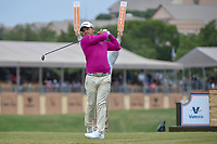 Fabian Gomez (ARG) watches his tee shot on 11 during Round 2 of the Valero Texas Open, AT&amp;T Oaks Course, TPC San Antonio, San Antonio, Texas, USA. 4/20/2018.<br /> Picture: Golffile | Ken Murray<br /> <br /> <br /> All photo usage must carry mandatory copyright credit (&copy; Golffile | Ken Murray)