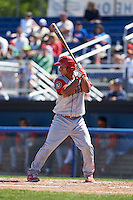 Williamsport Crosscutters catcher Gregori Rivero (26) at bat during a game against the Batavia Muckdogs on July 16, 2015 at Dwyer Stadium in Batavia, New York.  Batavia defeated Williamsport 4-2.  (Mike Janes/Four Seam Images)