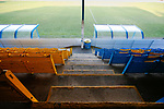 Yellow and blue seats in the Jamie Vardy Stand at Look Local Stadium. The seats were originally used at Hillsborough. Stocksbridge Park Steels v Pickering Town,  Evo-Stik East Division, 17th November 2018. Stocksbridge Park Steels were born from the works team of the local British Steel plant that dominates the town north of Sheffield.<br />