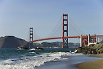 San Francisco: Baker Beach with Golden Gate Bridge in background.  Photo # 2-casanf83474.  Photo copyright Lee Foster
