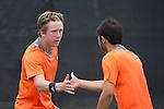 April 25, 2014; San Diego, CA, USA; Pepperdine Waves player Tom Hill (left) and Rakshay Thakkar (right) during the WCC Tennis Championships at Barnes Tennis Center.