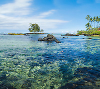 Crystal clear water gives a below-the-surface view at Leleiwi Beach Park, Hilo, Big Island.
