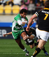 Manawatu win ger Lote Raikabula is tackled by Apoua Stewart. Air NZ Cup - Wellington Lions v Manawatu Turbos at Westpac Stadium, Wellington, New Zealand. Saturday 3 October 2009. Photo: Dave Lintott / lintottphoto.co.nz