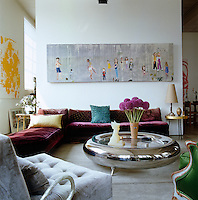 General view of the living area towards a painting by Chantal Joffe above a Eugene Printz daybed