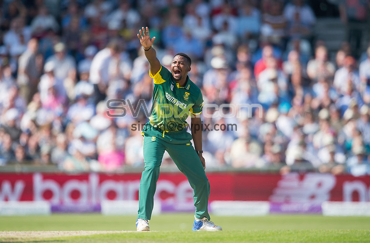 Picture by Allan McKenzie/SWpix.com - 24/05/2017 - Cricket - Royal London One-Day International - England v South Africa - Headingley Cricket Ground, Leeds, England - South Africa's Andile Phehlukwayo appeals.