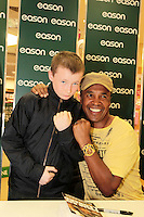 NO FEE PICTURES.16/3/12 William Hayden, age 10 pictured today is Sugar Ray Leonard, one of the greatest fighters of the last fifty years will be in Eason, O Connell Street signing copies of his new autobiography ,  The Big Fight .  Leonard s book is unflinchingly honest which reveals the true story of an Olympic hero and world champion.  He tells of the gruelling workouts, the fierce competition, and the notorious corruption he encountered within the sport as he battled to become a champion.  Picture:Arthur Carron/Collins