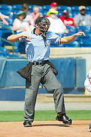 Home plate umpire Shane Livensparger calls a batter out on strikes during the South Atlantic League game between the Hagerstown Suns and the Rome Braves at State Mutual Stadium on May 2, 2011 in Rome, Georgia.   Photo by Brian Westerholt / Four Seam Images