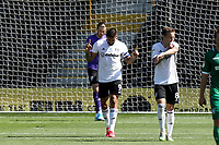 18th July 2020; Craven Cottage, London, England; English Championship Football, Fulham versus Sheffield Wednesday; Aleksandar Mitrovic of Fulham celebrates as he scores a penalty in the 41st minute for 3-0