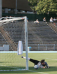 2 September 2007: Monmouth's Daniel Schenkel (BRA) saves a penalty shot from Wake Forest's Sam Cronin (not pictured). The Wake Forest University Demon Deacons defeated the Monmouth University Hawks 2-0 at Fetzer Field in Chapel Hill, North Carolina in an NCAA Division I Men's Soccer game.
