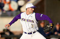 Relief pitcher Zach Woods #3 of the East Carolina Pirates in action versus the Virginia Cavaliers at Clark-LeClair Stadium on February 19, 2010 in Greenville, North Carolina.   Photo by Brian Westerholt / Four Seam Images