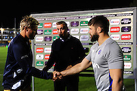 Jordan Crane of Bristol Rugby shakes hands with Guy Mercer of Bath Rugby prior to the match. European Rugby Challenge Cup match, between Bath Rugby and Bristol Rugby on October 20, 2016 at the Recreation Ground in Bath, England. Photo by: Patrick Khachfe / Onside Images