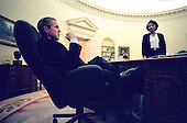 United States President George W. Bush meets with National Security Advisor Condoleezza Rice in the Oval Office of the White House in Washington, D.C. regarding his statement on plans for release of United States Navy Aircraft crewmembers in China on Wednesday, April 11, 2001..Mandatory Credit: Eric Draper - White House via CNP