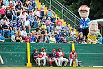 21 August 2010: Vermont Lake Monsters fans enjoy being entertained by the Washington Nationals Mascots during game action against the Brooklyn Cyclones at Centennial Field in Burlington, Vermont. The Cyclones defeated the Lake Monsters 8-7 in a 12-inning game that had to be resumed in Brooklyn on August 31 due to late inning rain. Mandatory Credit: Ed Wolfstein Photo