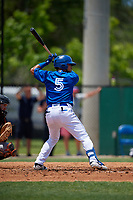 Dunedin Blue Jays Norberto Obeso (5) at bat during a Florida State League game against the Jupiter Hammerheads on May 16, 2019 at Jack Russell Memorial Stadium in Clearwater, Florida.  Dunedin defeated Jupiter 1-0.  (Mike Janes/Four Seam Images)