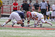 College Park, MD - February 25, 2017: Maryland Terrapins Will Bonaparte (19) and Yale Bulldogs Conor Mackie (21)tries to win the faceoff during game between Yale and Maryland at  Capital One Field at Maryland Stadium in College Park, MD.  (Photo by Elliott Brown/Media Images International)