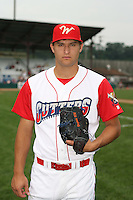 July 4th 2008:  Pitcher Michael Schwimer (34) of the Williamsport Crosscutters, Class-A affiliate of the Philadelphia Phillies, during a game at Bowman Field in Williamsport, PA.  Photo by:  Mike Janes/Four Seam Images