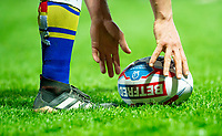 Picture by Allan McKenzie/SWpix.com - 13/04/2018 - Rugby League - Betfred Super League - Leeds Rhinos v Wigan Warriors - Headingley Carnegie Stadium, Leeds, England - Betfred, ball, branding, player, boot.