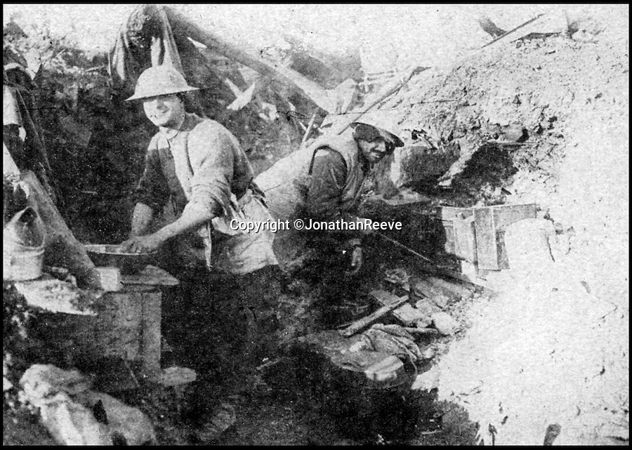 BNPS.co.uk (01202 558833)<br /> Pic: JonathanReeve/BNPS<br /> <br /> Trench cook house, November 1917. <br /> <br /> The meals that fuelled the British soldiers to victory in the trenches during the First World War have been revealed in a new book.<br /> <br /> And unlike the popular idea of just bully beef and tea, it reveals a suprising varied if largely unappetising mixture that included egg and chips, along with more challenging fare including gruel, calves foot jelly, and onion porridge.<br /> <br /> Then there was the dreaded Maconochie stew, which had been a standard part of rations since the Boer War. <br /> <br /> This watery stew consisted of turnips and vegetables, with minimal meat. Although it was recommended that the tin was warmed prior to eating, it was mostly eaten cold. <br /> <br /> One unfortunate side-effect was it caused flatulence amongst the ranks.<br /> <br /> The huge logistical challenge faced when attempting to keep millions of troops fed and watered is revealed in Hannah Holman's book The Trench Cookbook 1917.