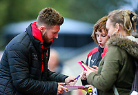 Fleetwood Town's James Husband signs autographs before the match<br /> <br /> Photographer Alex Dodd/CameraSport<br /> <br /> The EFL Checkatrade Trophy - Northern Group B - Fleetwood Town v Leicester City U21 - Tuesday September 11th 2018 - Highbury Stadium - Fleetwood<br />  <br /> World Copyright &copy; 2018 CameraSport. All rights reserved. 43 Linden Ave. Countesthorpe. Leicester. England. LE8 5PG - Tel: +44 (0) 116 277 4147 - admin@camerasport.com - www.camerasport.com