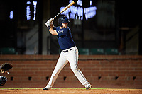 Mobile BayBears first baseman Zach Houchins (8) at bat during a game against the Pensacola Blue Wahoos on April 25, 2017 at Hank Aaron Stadium in Mobile, Alabama.  Mobile defeated Pensacola 3-0.  (Mike Janes/Four Seam Images)