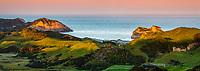 Pastel colours of twilight over Wharariki Beach near Collingwood, Nelson Region, South Island, New Zealand, NZ